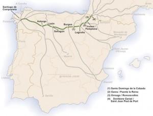 Mapa con los distintos caminos a Santiago
